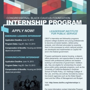 Congressional Black Caucus Foundation – 2013 Internships (Emerging Leaders & Communication Programs)